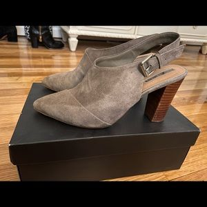 TAHARI SUEDE POINTED BOOTIES SLINGBACK